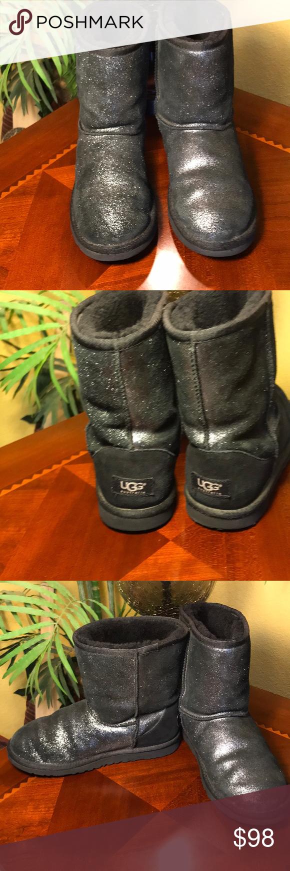 546291c5552 UGG Sparkle Black Metallic Classic Short Boots UGG Sparkle Black ...