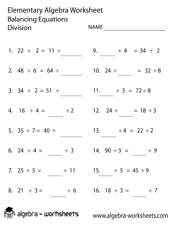 Worksheets Division Question Year 7 division elementary algebra worksheet worksheet
