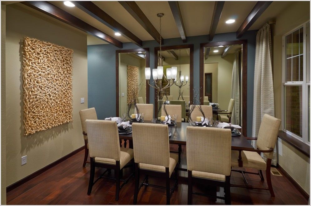 Dining Room Contemporary Denver Accent Wall Baseboards Blue