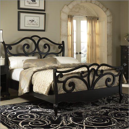 Photo Of Hammary Avignon Sleigh Bed In Satin Black Bedroom Furniture 500