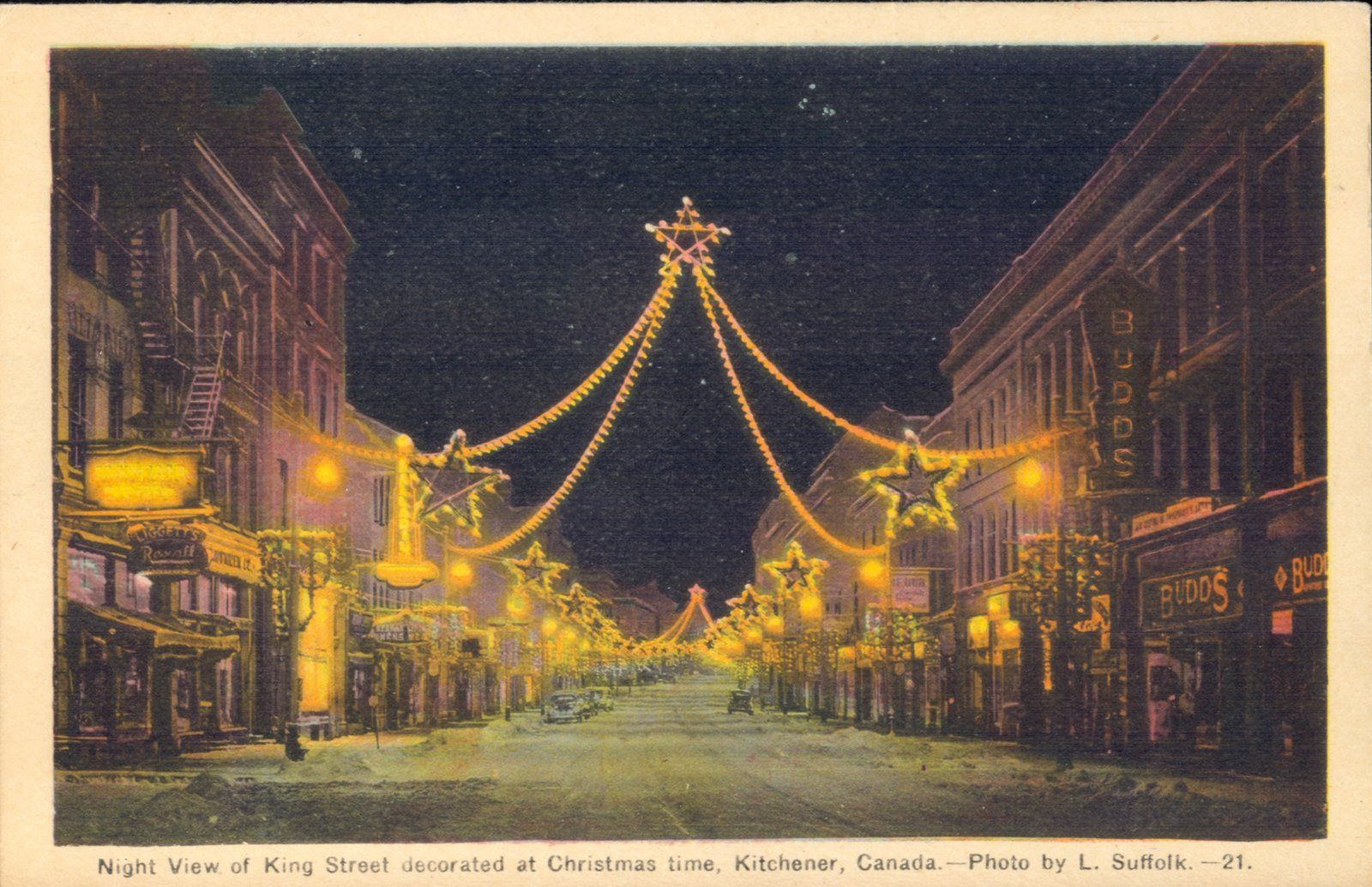 Downtown Kitchener At Christmas Early 1930s Photo Local
