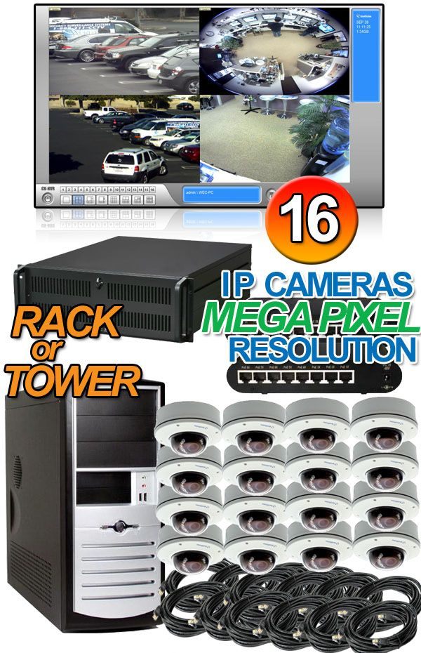 Geovision Megapixel 16 Vandal Proof Dome Ip Security Camera Nvr System This 4 Channel Geovision Surv Ip Camera System Video Security System Ip Camera