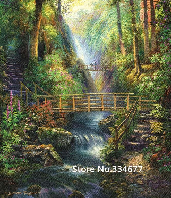 USD$22.79 Bridge in forest green scener for Embroidery Needlework 14CT Counted Unprinted DIY Cross Stitch Kits Handmade Art Wall Decor