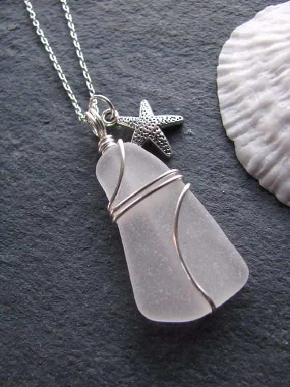 Photo of Sea Glass Jewelry Sea Glass Necklace Beach Glass with Starfish Charm