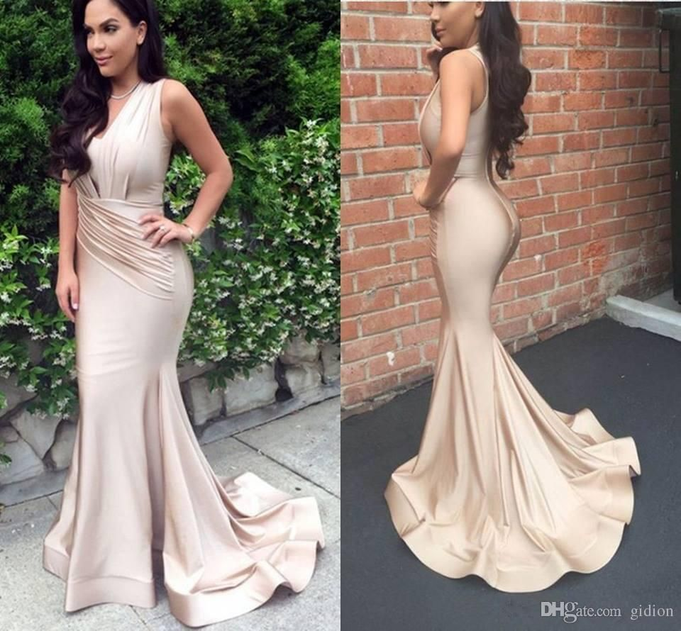 Modern champagne sexy mermaid prom dresses ruffles pleats long