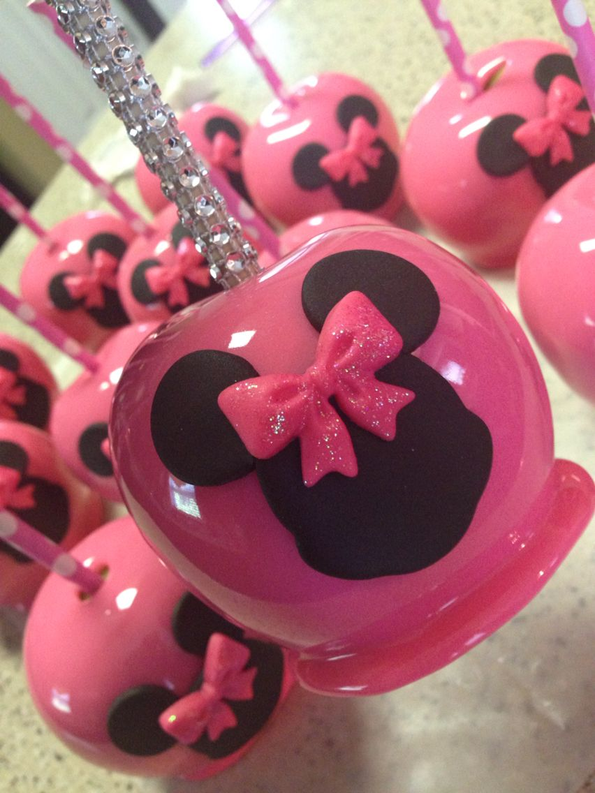 Custom Minnie Mouse candy apples with custom bling sticks! | Avaya\'s ...