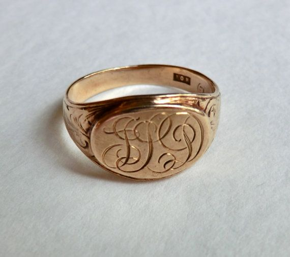 Edwardian 10k Gold Signet Ring Monogram Jld Size 8 5 Antique Rings Vintage Gold Signet Ring Antique Rings