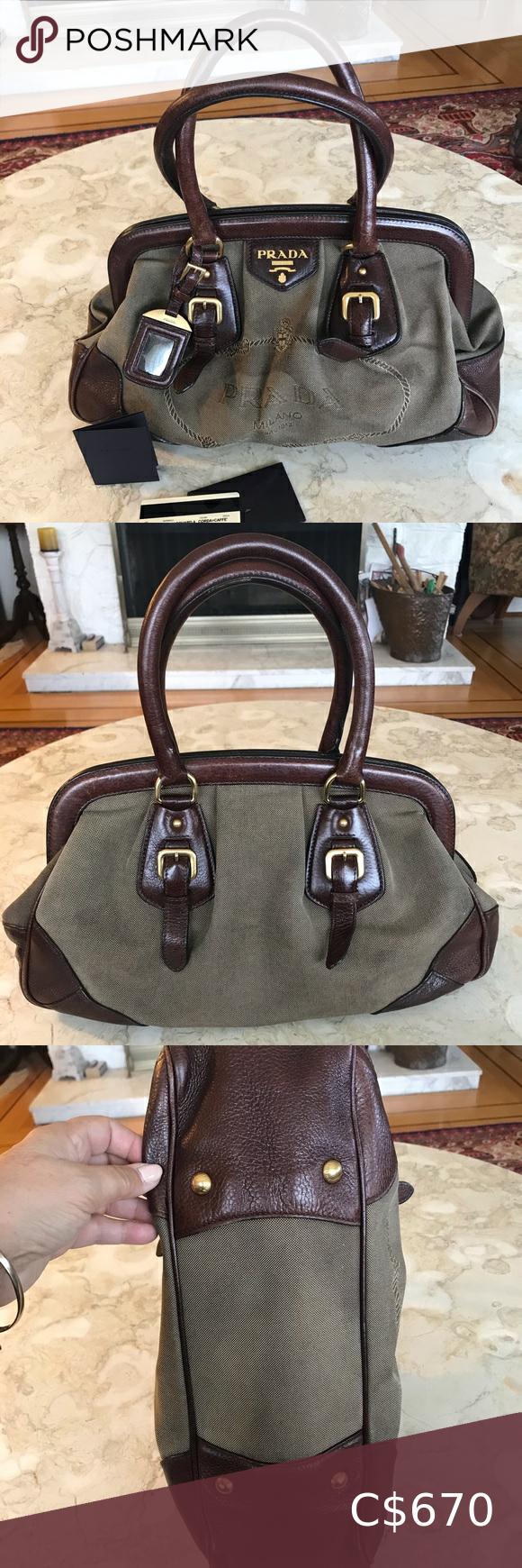 Photo of Authentic PRADA Jacquard Corda + Caffe Handbag