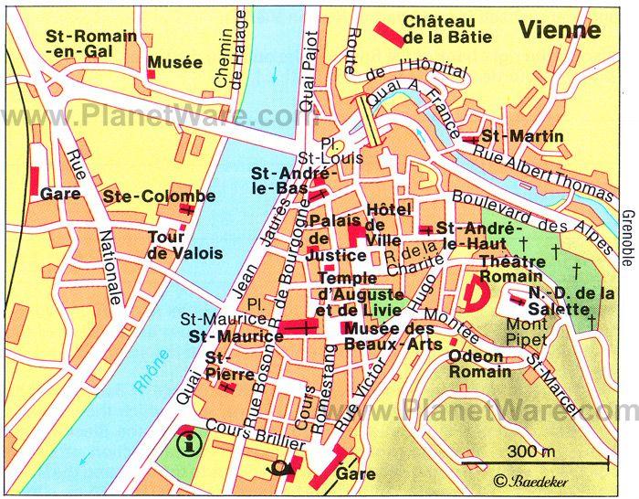 Vienne Map Tourist Attractions Paris Pinterest Lyon