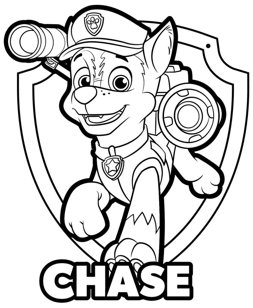 Printable Paw Patrol Coloring Pages Chase