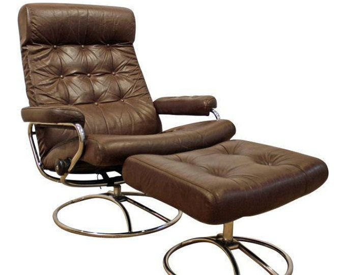 reserved chris mid century ekornes brown leather recliner chair