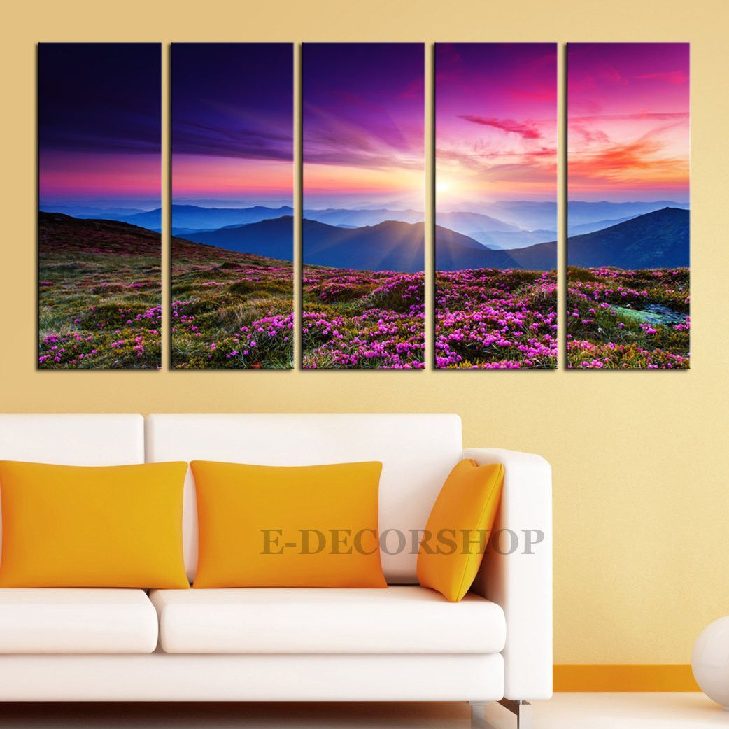 Large Wall Art Colorful Autumn and Mountains Sunset Canvas Print ...