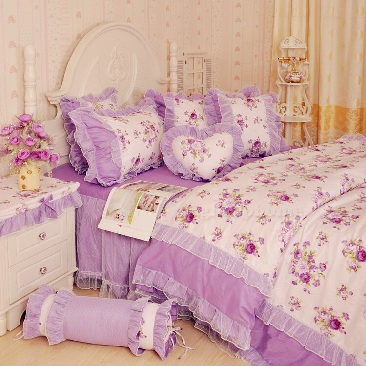 Purple Floral Lace Bowtie Ruffle Bedding For Girls Girls Lace