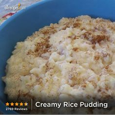 """Creamy Rice Pudding 