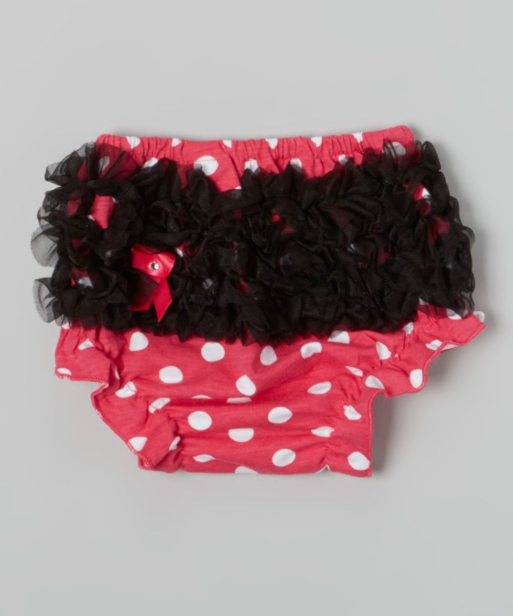 Black Diaper Cover with Hot Pink Ruffles