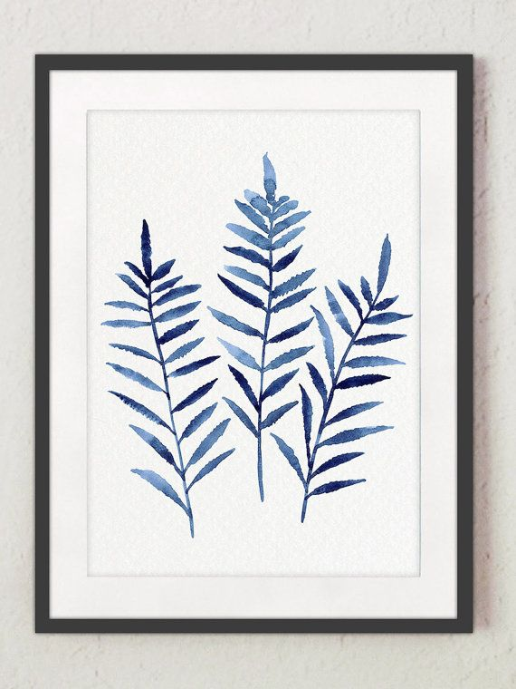 Fern Print Botanical Decor set 4 Blue Leaves Kitchen Poster, Indigo Clip Art Ferns Home Garden Forest Plants Living Room Watercolor Painting -   13 minimalist planting Art ideas