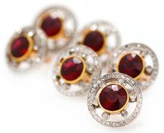 Fabergé garnet and diamond buttons.