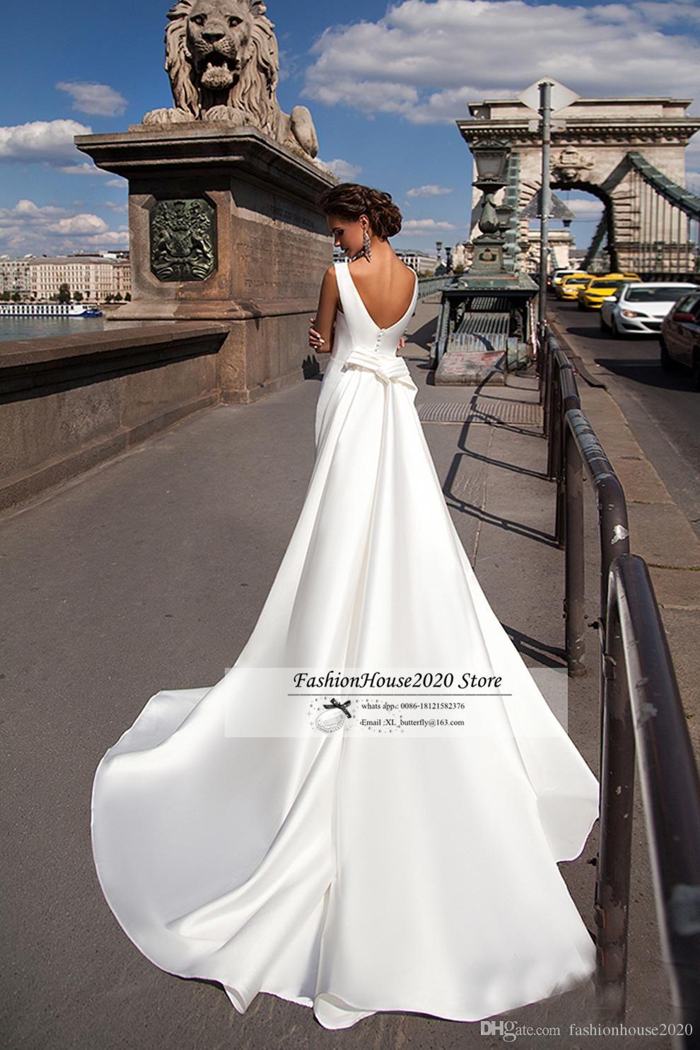 Discount Satin Mermaid Wedding Dresses 2018 Bateau Boat Neck ...