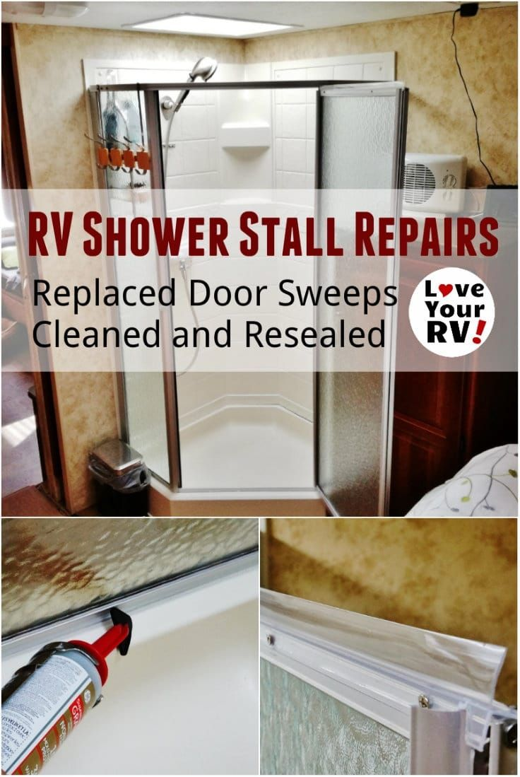 RV Shower Stall Repairs New Door Sweeps and Reseal | Door sweep ...
