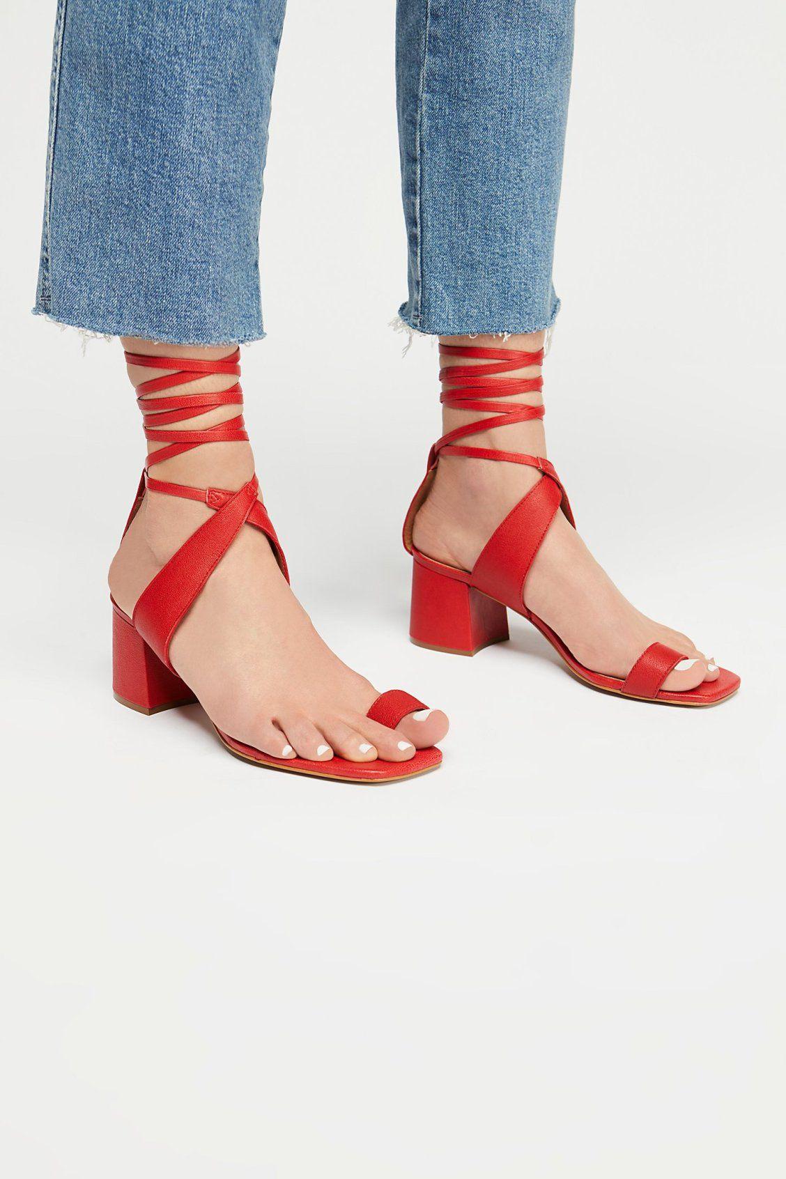 292862ee62a4 Laci Heel | Free People Toe Loop Sandals, Beautiful Shoes, Toe Rings, Shoe