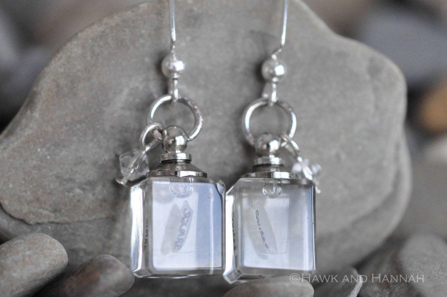 Crystal Hook Earrings with Personalized Hand-Lettered Rice Grains, by Hawk and Hannah. via Etsy.