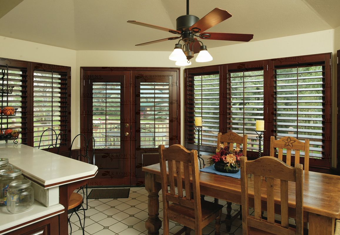 Stained Plantation Shutters With Painted Trim Classic