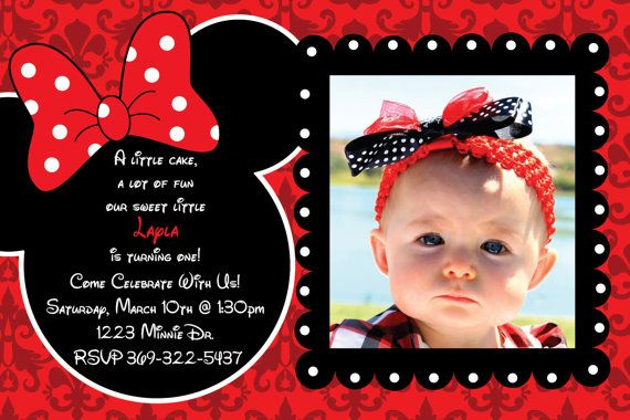 Minnie Mouse Damask Background Birthday Party Custom Invitation OR Thank You Card 1 3 Photo Option 1000