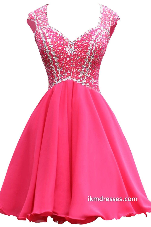 Short Chiffon Beaded Prom Bridesmaid Homecoming Party Dress http ...