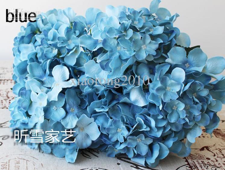 Nice 20p silk artificial hydrangea pincushion laurustinus flower wholesale nice 20p blue silk artificial hydrangea pincushion laurustinus flower bush wedding bouquet christmas free mightylinksfo