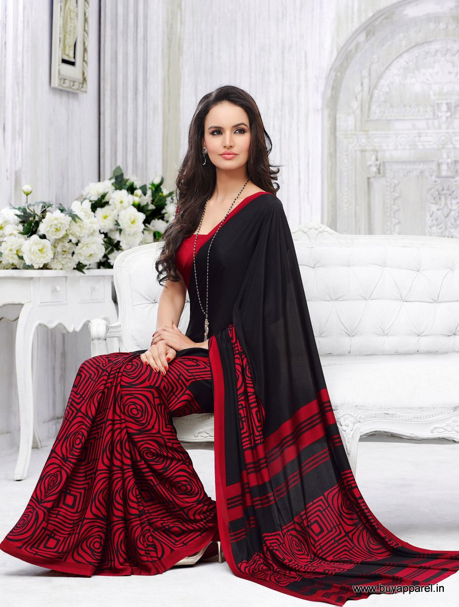 Designer Casual Black+Maroon Color Crepe Printed Saree at  $21.00 only visit athttp://buyapparel.in/index.php/catalogsearch/result/?q=akira