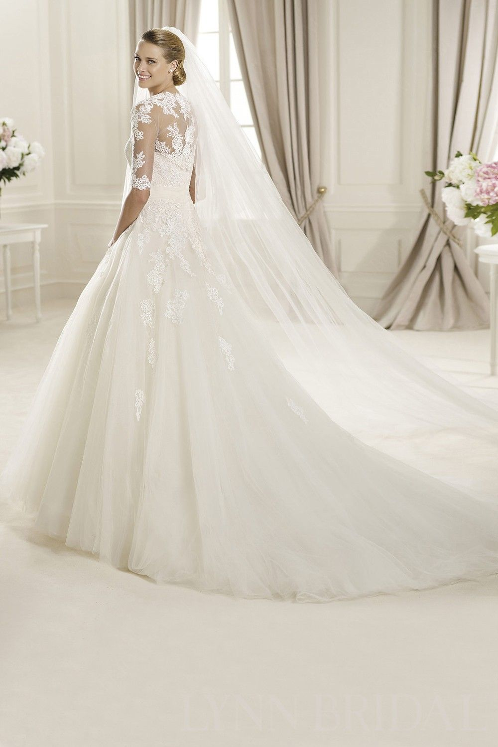 Princess strapless chapel train lace tulle wedding dress with jacket