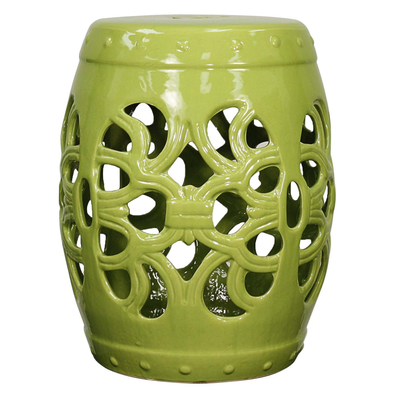 Golnaz Ceramic Garden Stool Green - Ceramic Garden Stools, Stools
