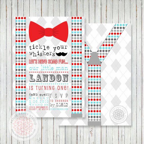Little Man Bow Tie Mustache Bash Printable Party Invitation – Little Man Mustache Party Invitations