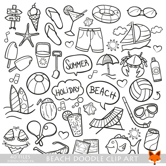 Beach Day Holidays Travel Doodle Icons Clipart Scrapbook