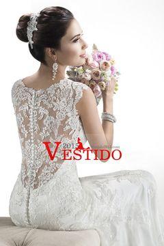 2014 Hermosa cuello en V vestido de novia vaina / columna con apliques de tul capilla de cola USD 269.99 VEP88DJAB6 - Vestido2015.com