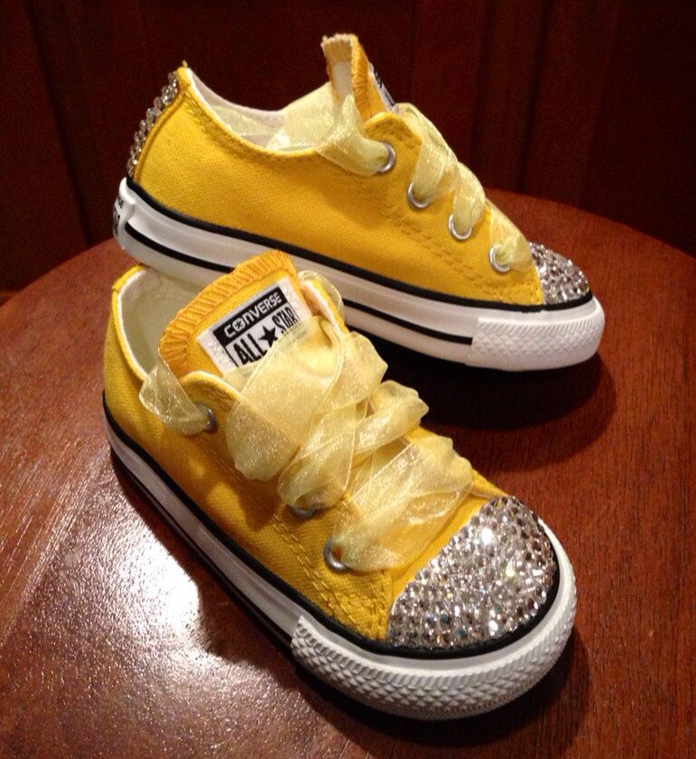 Sunshine Yellow Bling Converse By Munchkenzz On Etsy 65 00