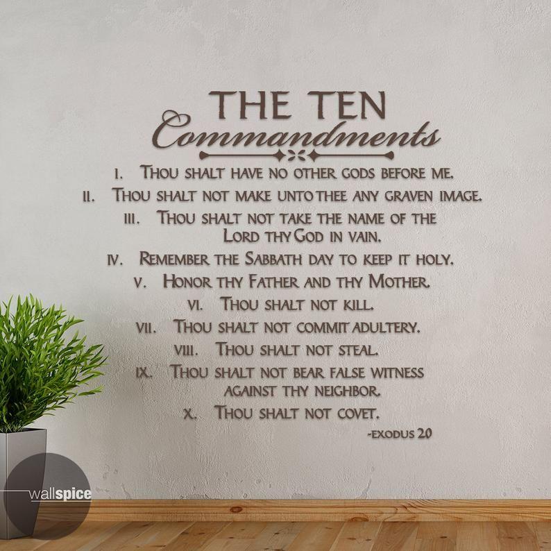The Ten Commandments Exodus 20 Vinyl Wall Decal Sticker Etsy In 2020 Wall Decal Sticker Ten Commandments Vinyl Wall Decals