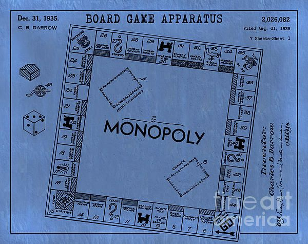 1935 monopoly board game patent art in black on light blue vintage 1935 monopoly board game patent art in black on light blue vintage parchment paper patent malvernweather Choice Image