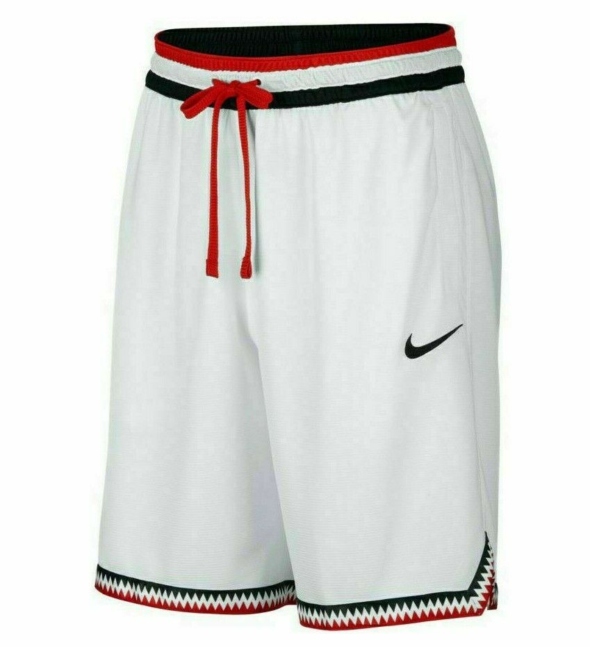 Nike Dri Fit Dna Mens Basketball Shorts White Black Red At3150 100 Nike Activewearshorts In 2020 Basketball Shorts Active Wear Shorts Nike Dri Fit