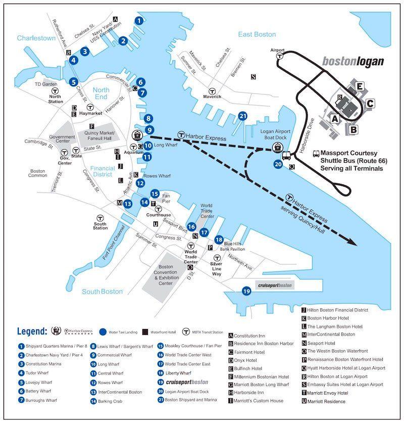 Massport's Boston water taxi landing map showing nearby