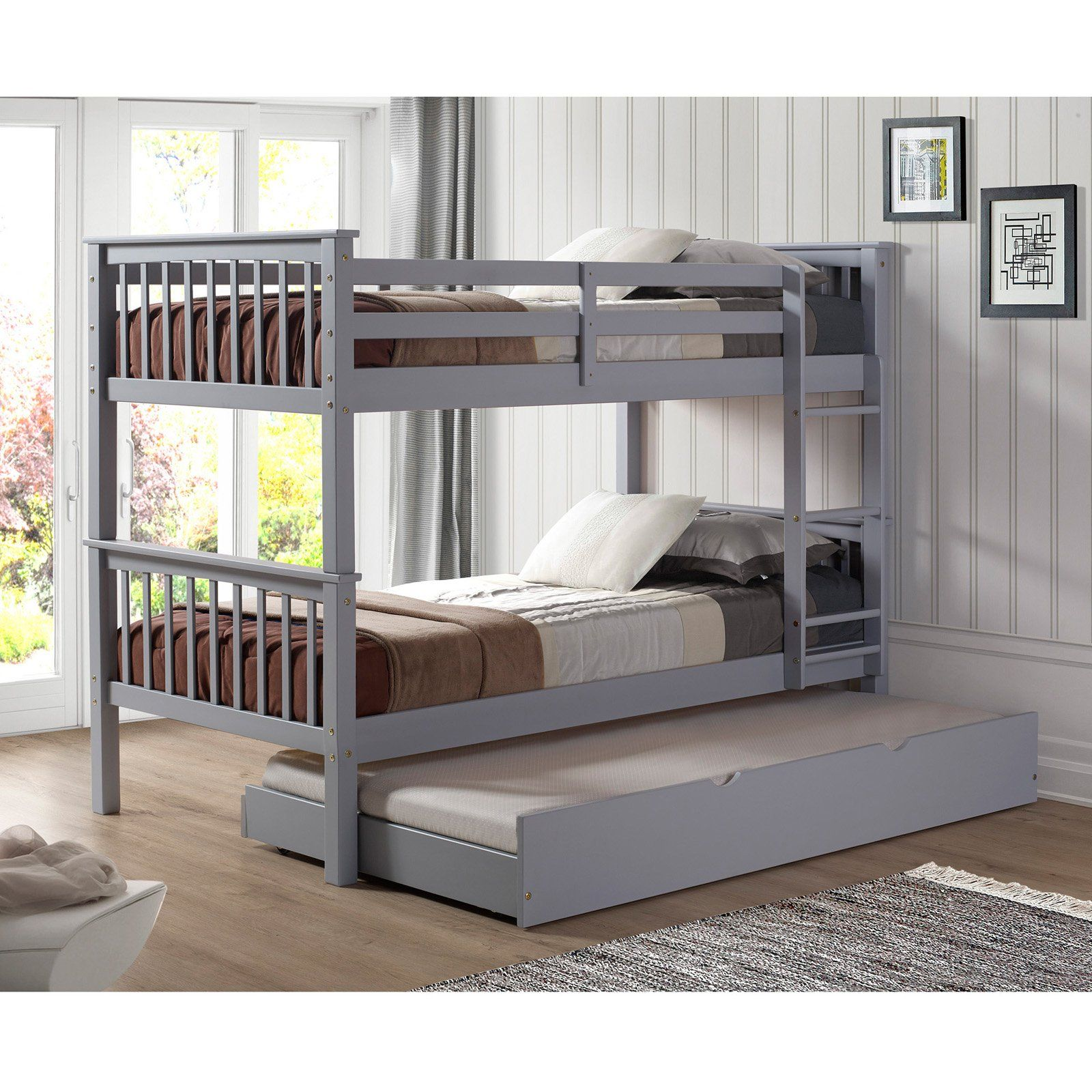 Loft bed with desk pottery barn  Walker Edison Solid Wood Twin over Twin Bunk Bed with Trundle  from
