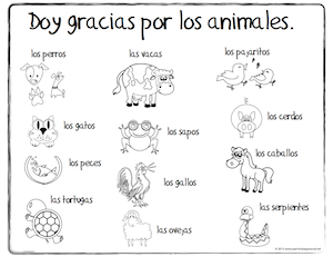 Spanish Thanksgiving Vocabulary Coloring Pages   Spanish ...