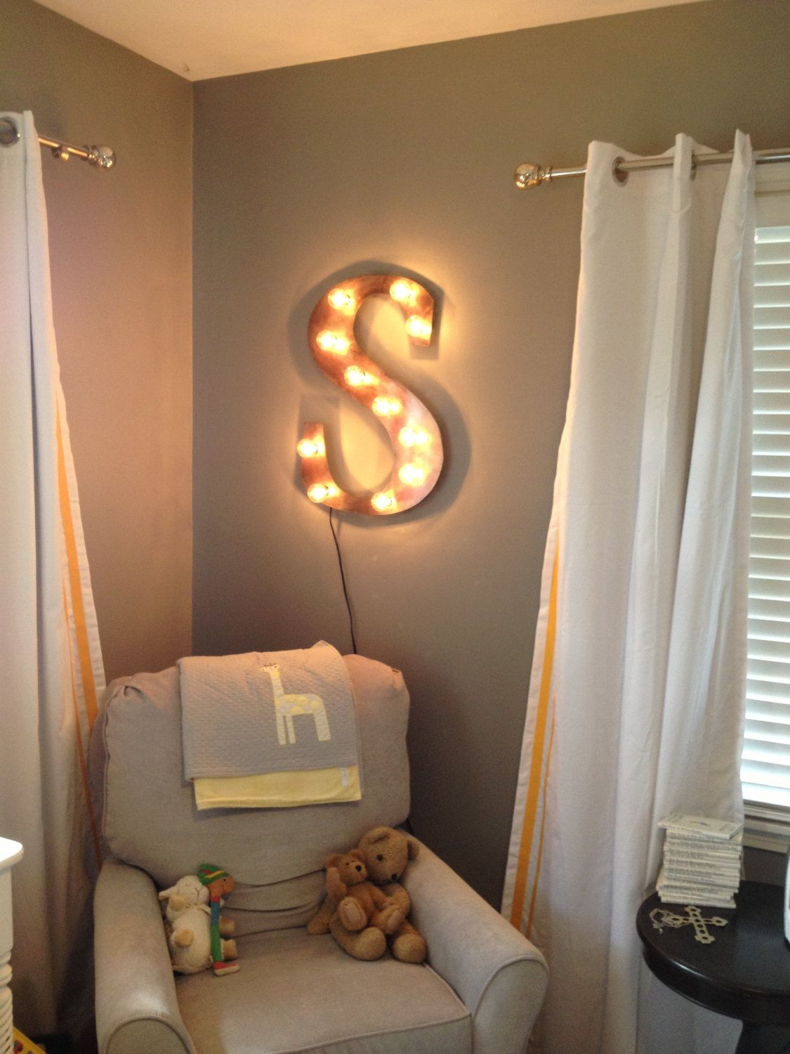 Kids Room Wall Lamp Night Light Industrial Letter Wall Hanging Metal Letter