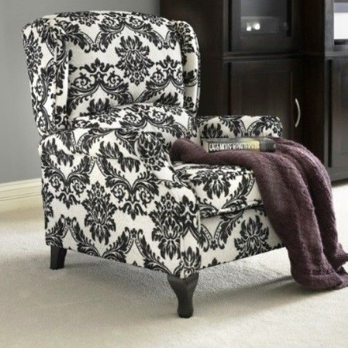 4each I Love Camelot Living Room Black Floral Wingback Accent Recliner  Reclining Chair Recliners Armchairs Chairs