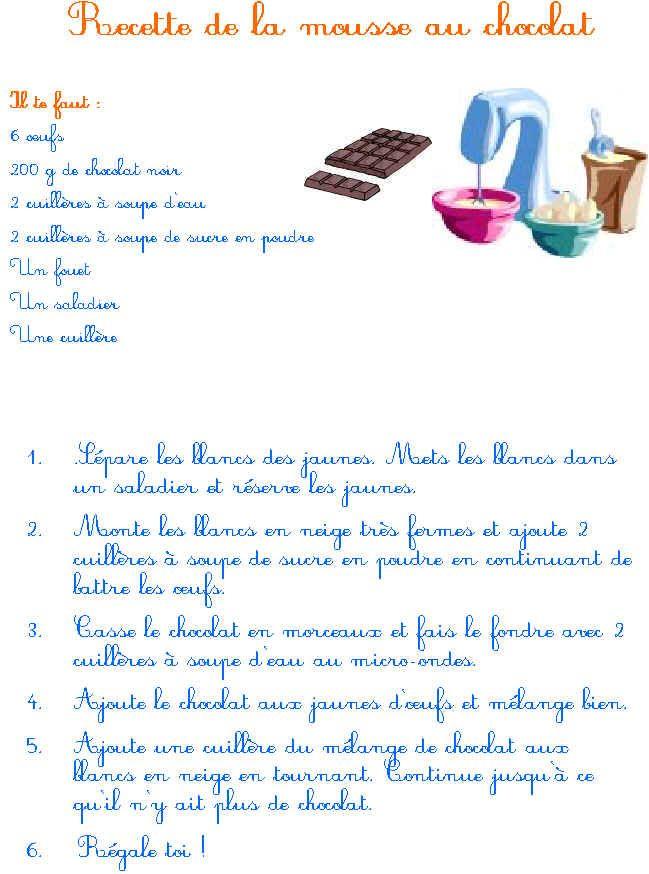 imprimer la recette de la mousse au chocolat | mousse, le chocolat