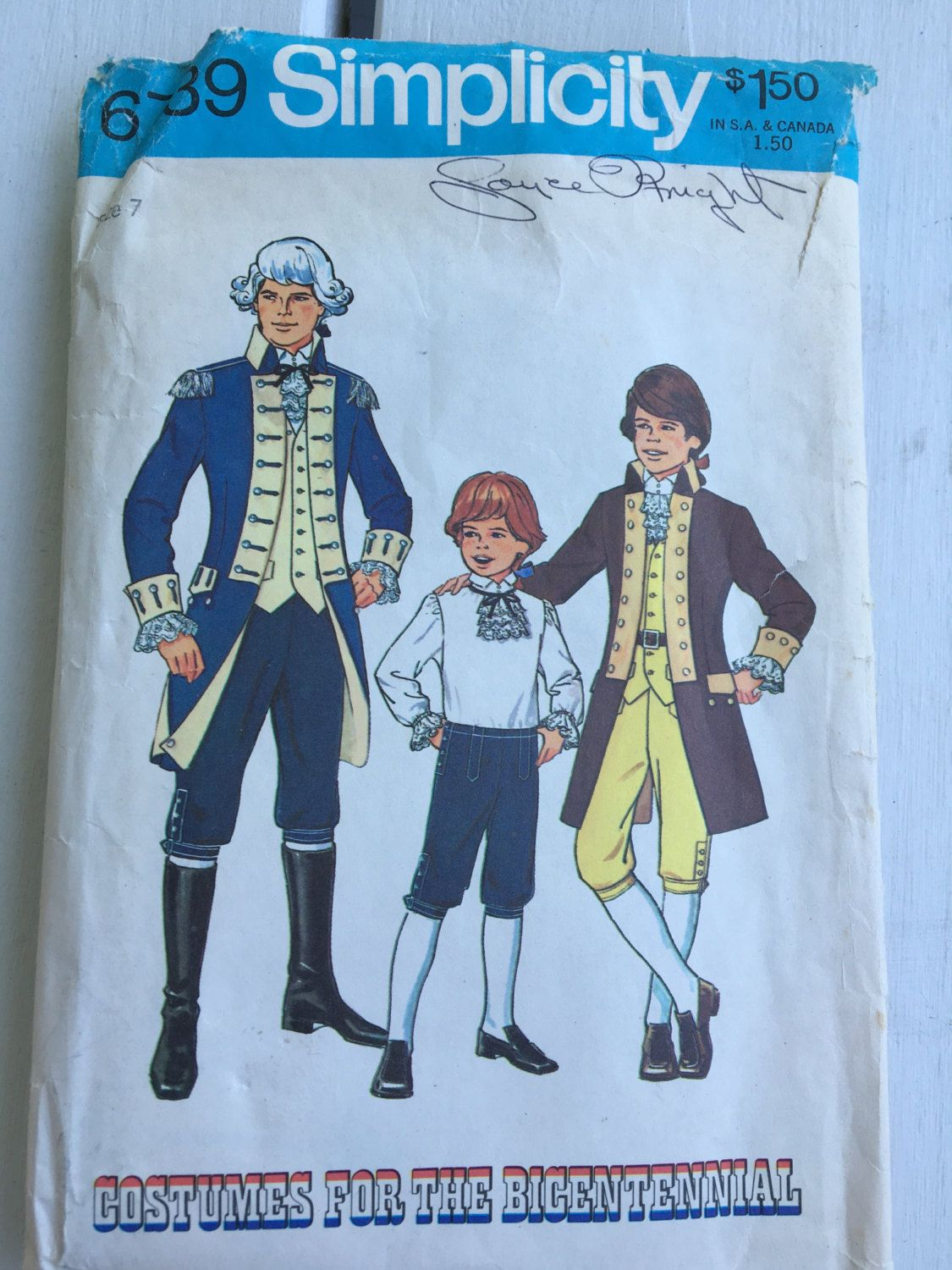 vintage 6739 Simplicity pattern, size 7, boys\' colonial costume ...