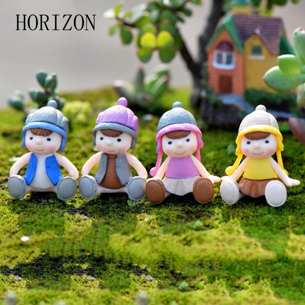 4PCS Little Boy & Girl Doll Resin Crafts Ornament Miniature Figurine ...