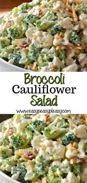 Sweet Broccoli Cauliflower Salad  Easy Peasy Pleasy Deliciously Sweet Broccoli Cauliflower Salad  Easy Peasy Pleasy