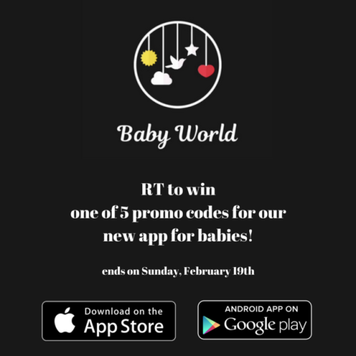 Win promo codes for our new app Baby World! The contest