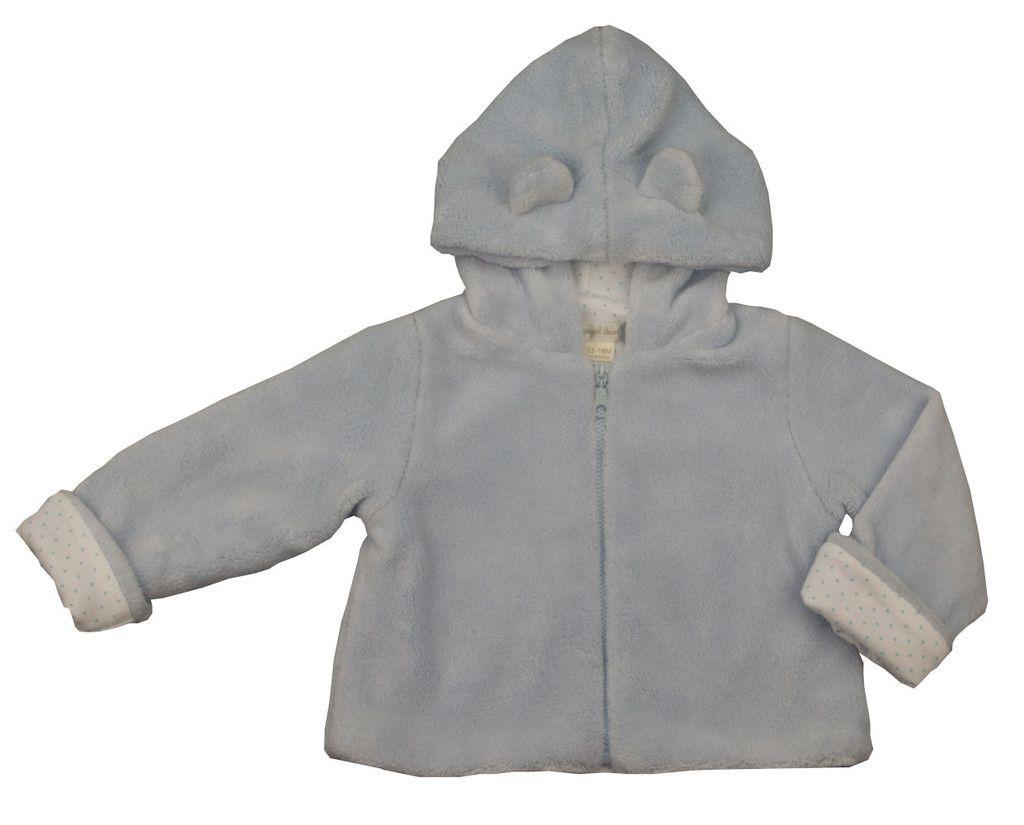 Angel Dear Powder Blue Fuzzy Bear Jacket - Baby Boy